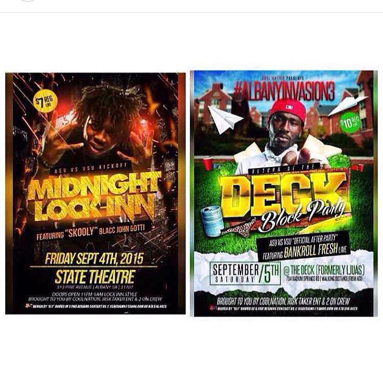 ASU vs VSU  Fri 9/4 LockINN 7$ @ State {Skooly}  Sat 9/5 AlbanyInvasion3 10$ The Deck {Ljuas} {BankrollFresh} http://t.co/2wP7lLQgnp