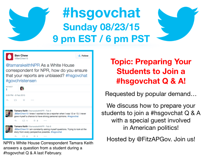 Thumbnail for #hsgovchat (08/23/15): Preparing Your Students to Join a #hsgovchat Q & A!