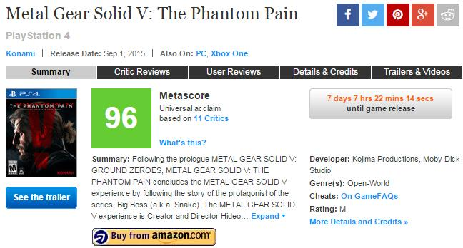 Metal Gear Solid V: The Phantom Pain | Review Thread | Words That