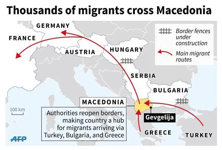 Il flusso incessante di migranti da sud che passano per Macedonia.