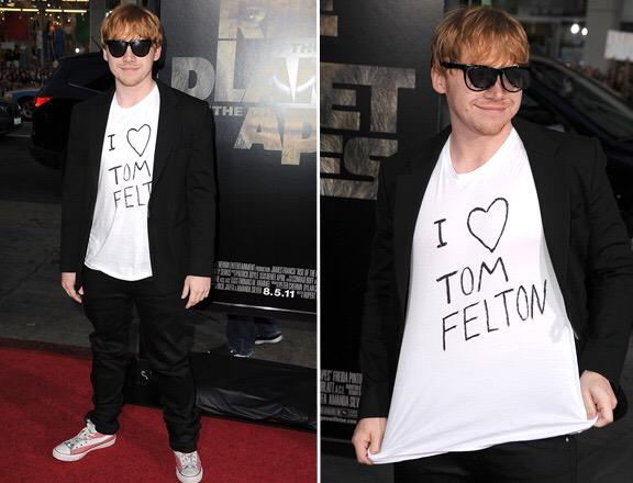 He surprised me & turned up to the premiere in this t-shirt. No one is cooler than Rupert. Happy Birthday brother. http://t.co/58d7i6VLLG