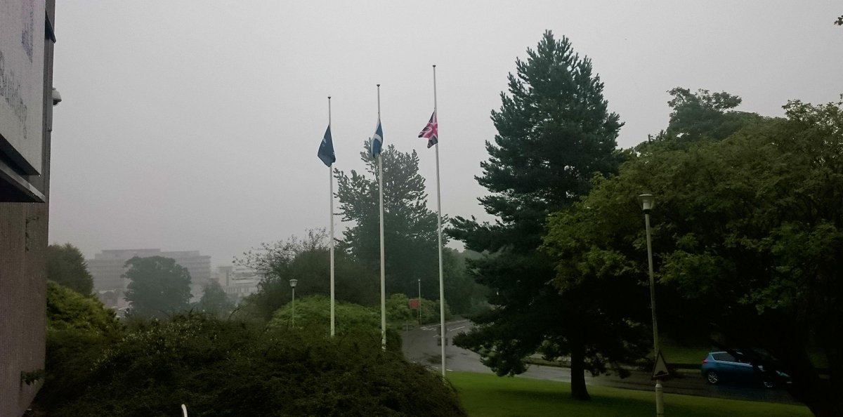Flags being lowered at our HQ, honouring Cllr Joanna Strathdee, who sadly passed away after a battle with cancer. http://t.co/LEGYIXQ5iy
