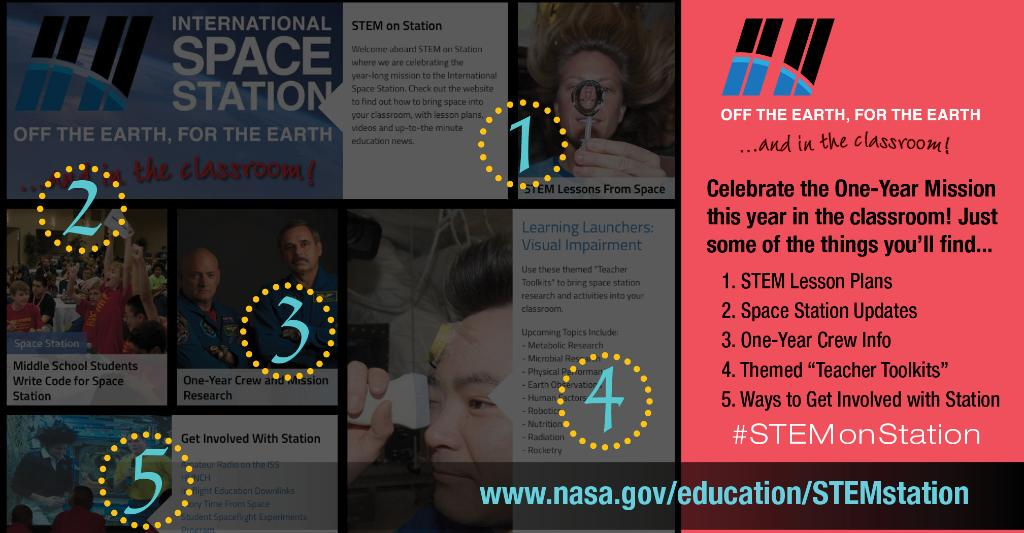 Educators: Find #YearInSpace education resources on the new #STEMonStation website! http://t.co/wUDPZl47y1 http://t.co/4yhq14kgpN