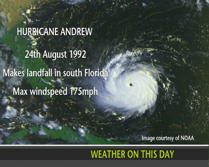 On this day in 1992, Hurricane #Andrew made landfall in south Florida with windspeeds of 175mph