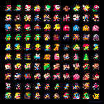 Here are 100 famous characters, 8x8 pixels, using the #PICO8 palette. #pixelart #dotpict