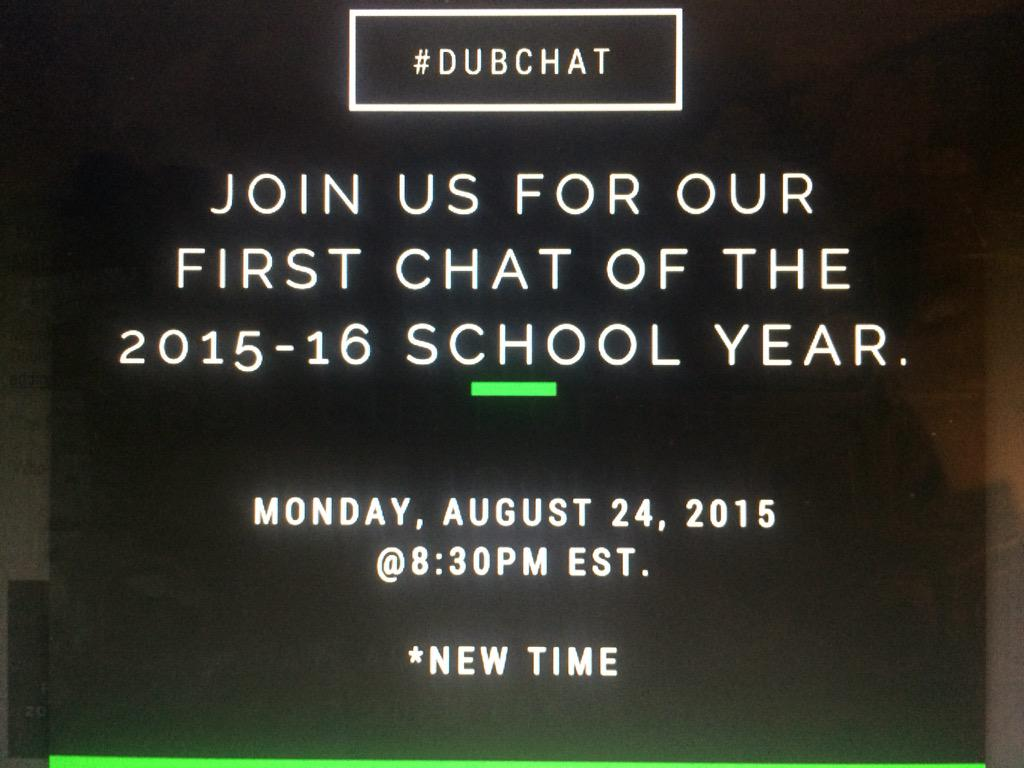 #DubChat returns tonight!!!! http://t.co/LsCUzu94TI