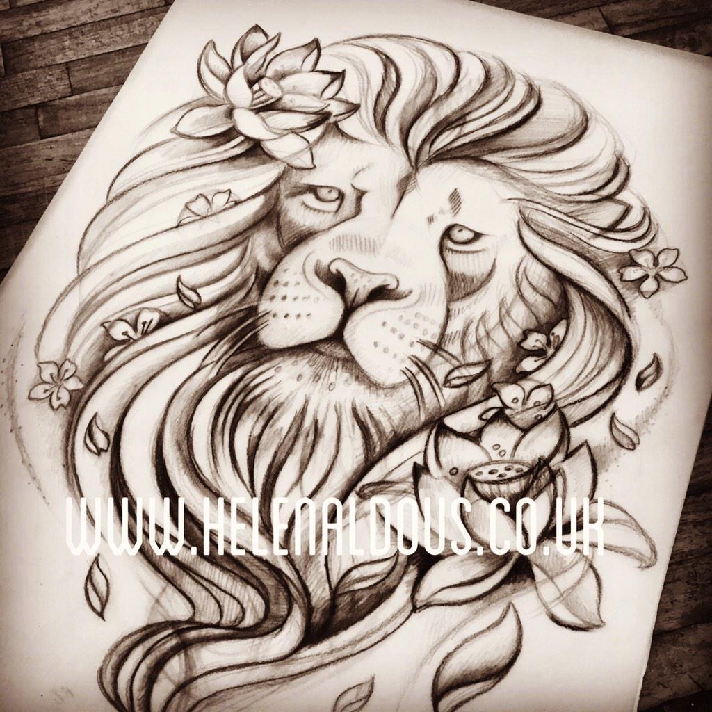 helen aldous tattoo on twitter lion with flowers custom tattoo design huddersfield. Black Bedroom Furniture Sets. Home Design Ideas