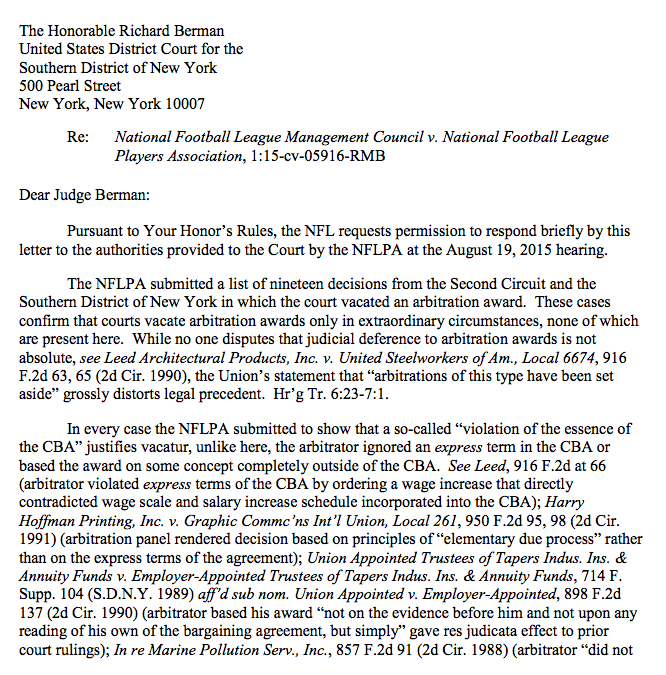 Page 1 of the NFL's letter to Judge Berman: http://t.co/HWGwIJfu5n