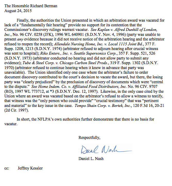 Page 3 (of 3) of the NFL's letter to Judge Berman: http://t.co/JOQp8QSSVG