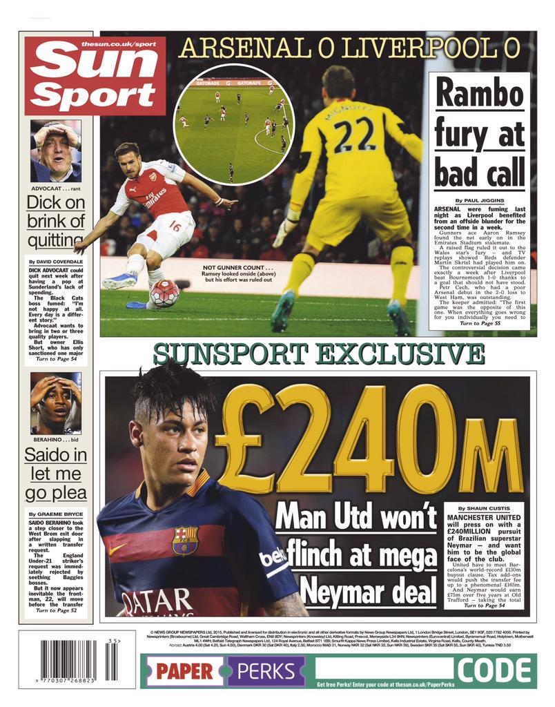 Man United ready to spend staggering £240million in order to sign Barcelona star Neymar [Sun]