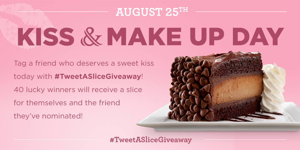 It's #KissAndMakeUpDay! Tag a friend who deserves a kiss w/ #TweetASliceGiveaway for a chance to win!* http://t.co/lDKAvOY2vt