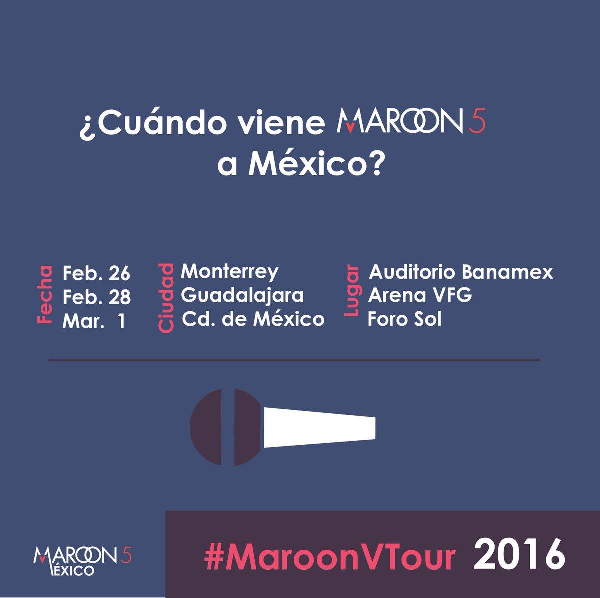Información @maroon5 en México. #MaroonVTour @ocesa_pop @UMusicMexico http://t.co/E1wpg3eKFr