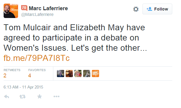 Hmm, NDP's @marclaferriere has now deleted his #upfordebate tweet. No worries, Marc - here's a screenshot! #cdnpoli http://t.co/quLPHzs3dw