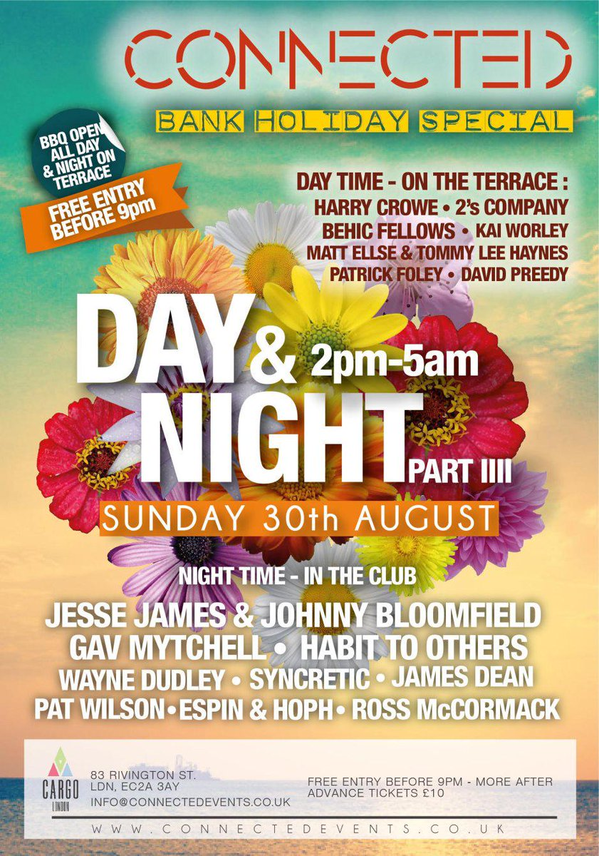 The hugely anticipated CONNECTED Bank Holiday day/night party is just around the corner.   Grab your tickets now! http://t.co/4v6Vg549zi