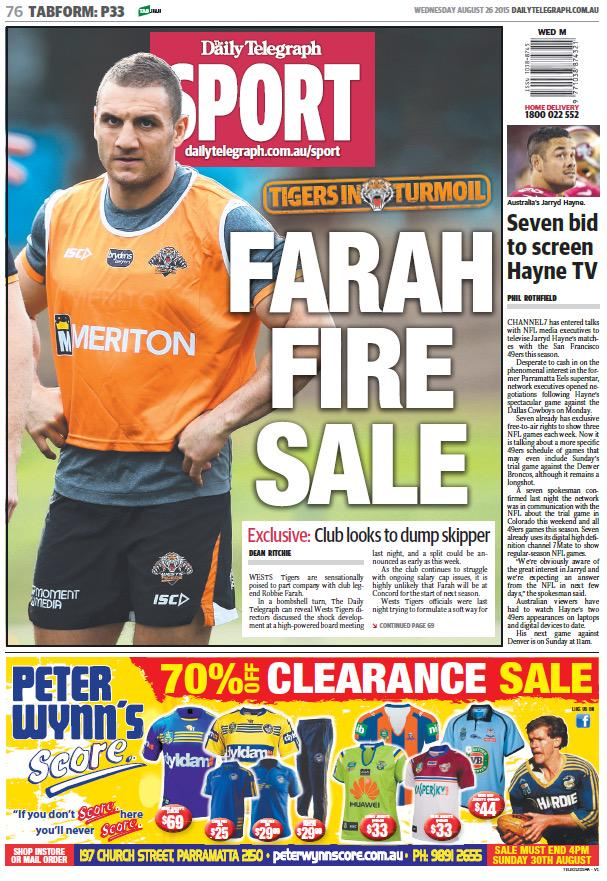 EXCLUSIVE: Wests Tigers poised to sack Robbie Farah due to salay cap dramas. http://t.co/7yvyuKitMp