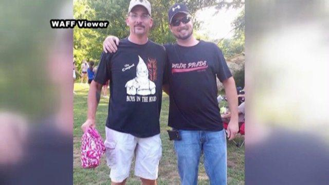 Ku Klux Klan and White Pride T-shirts, worn by cheerleading coach Brian McCracken, and Brian McDowell, respectively