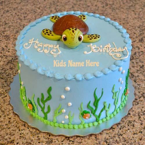 Cakenamepix On Twitter Write Name Sea Turtle Birthday Cake For