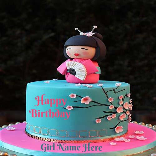 Write Name On Cute Baby Birthday Cake For Girls Cakenamepix Namepix