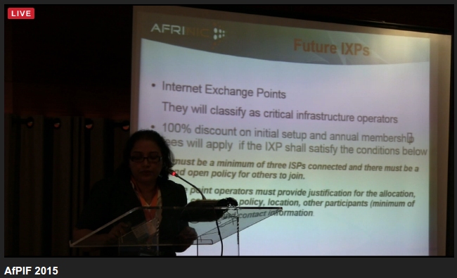 Madhvi, AfriNIC:How Important is an IXP? Policy: About IP Reservation for IXP [Source: https://pbs.twimg.com/media/CNQSveLVAAEpC3o.png]