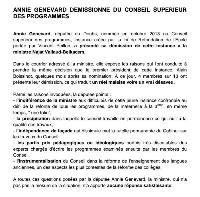 La députée UMP Annie Genevard est la 4eme personnalité à démissionner du Conseil Supérieur des Programmes (sur 18 membres). CNQfF47XAAIYyer