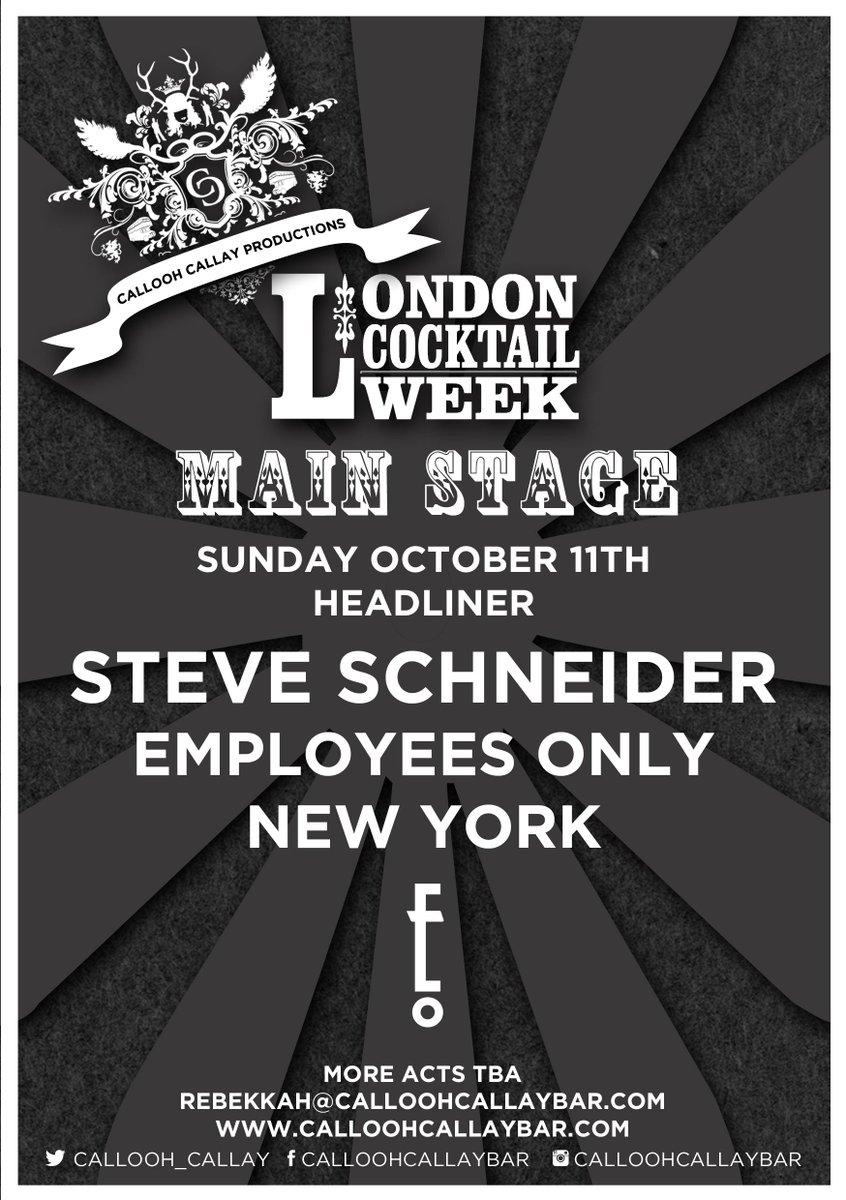 Our first @LDNCocktailWeek announcement - Steve Schneider (@schneideysense) of @EmployeesOnlyNY at Callooh Callay. http://t.co/RaZE3zxzN5