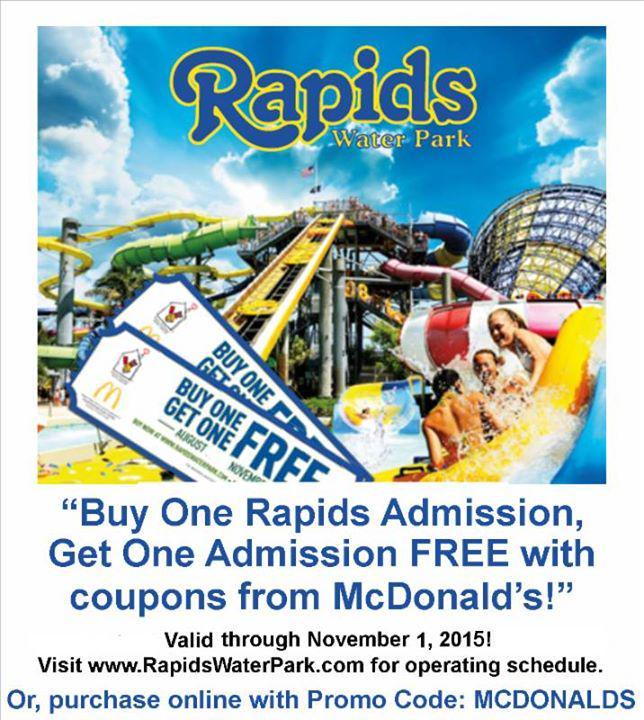 Rapids Water Park On Twitter It S Mcdonald Bogo Time With Coupon From Paring Offer Valid Days Of Operation Now Through N