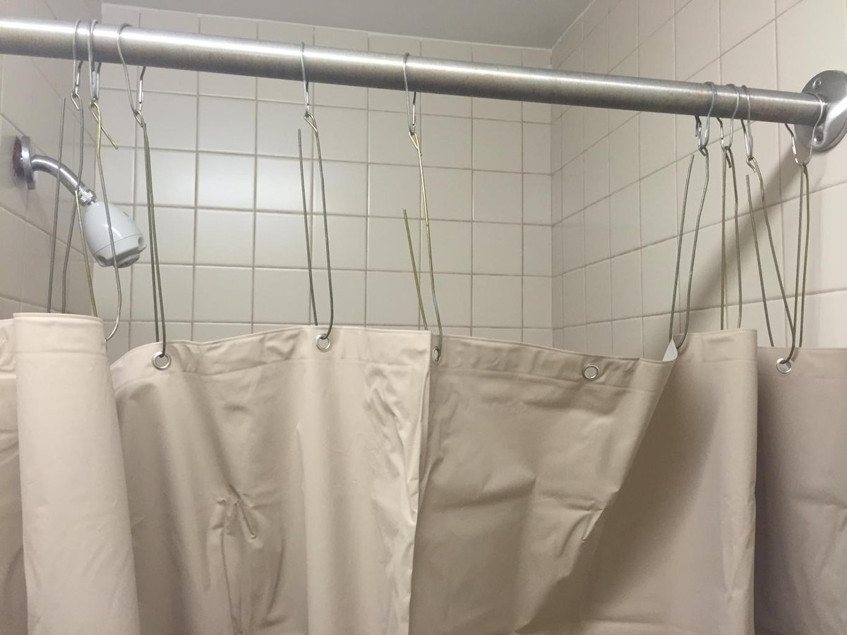 Adam Orfinger On Twitter Our Shower Curtain Was Too Short Those Are Bent Coat Hangers As Hooks Yes One Of My Roommates Is An Engineer