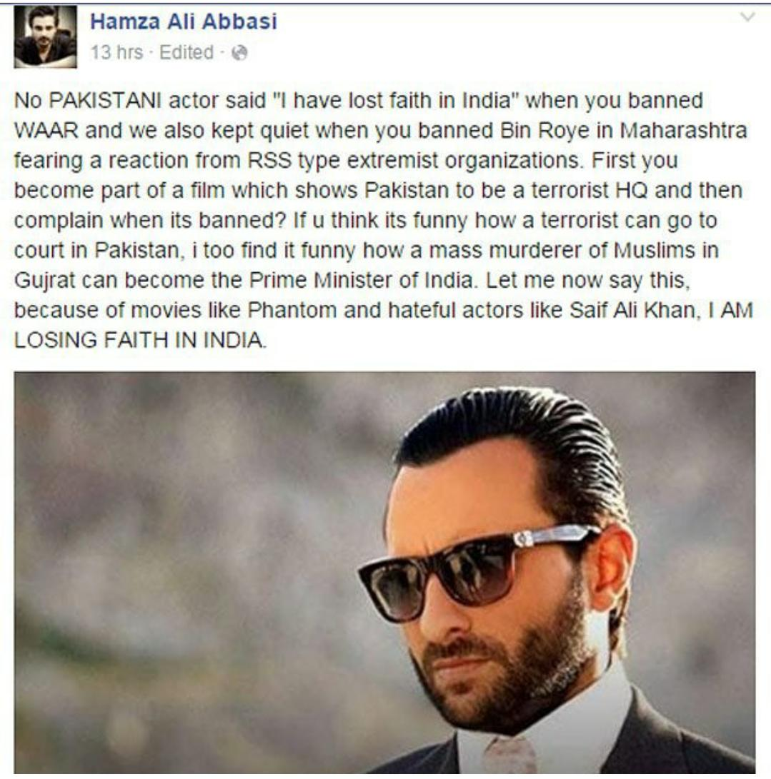 The guy at least has guts to speak up. Well said Hamza Ali Abbasi .. #Phantom http://t.co/bowY1Zrx0v