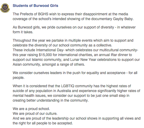 This is what leadership looks like. From the prefects at Burwood Girls High School. Legends #gaybybaby http://t.co/j4i2WnT38A