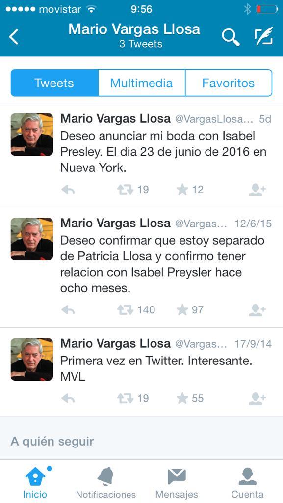 Cómo petarlo con solo tus tres primeros tuits. Por Mario Vargas Llosa. http://t.co/NLtVEwm6CP