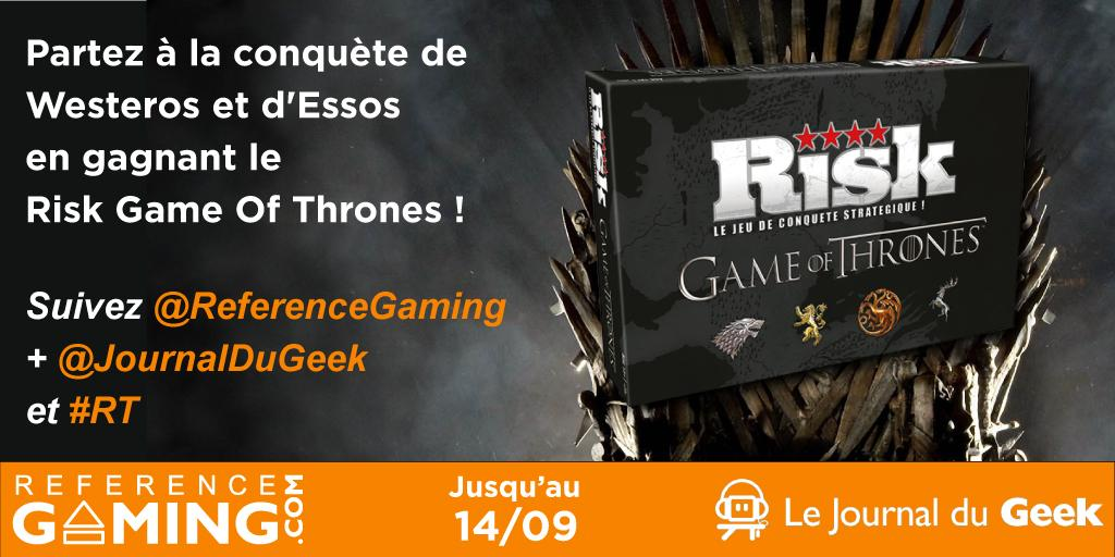 #CONCOURS RT + follow @JournalDuGeek et @ReferenceGaming pour Gagner un Risk #GameOfThrones ! Tirage le 14/09 :)