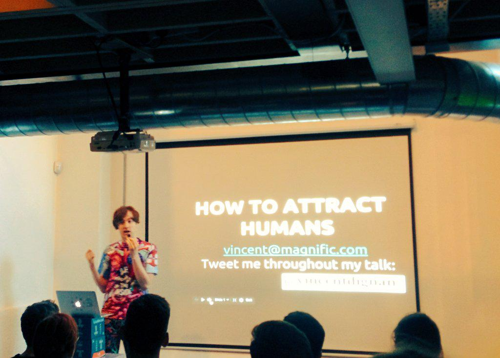 How to attract humans? Growthhacking is no easy thing, but hearing from @vincentdignan the room will soon be pros! http://t.co/2ZF2u7meZD