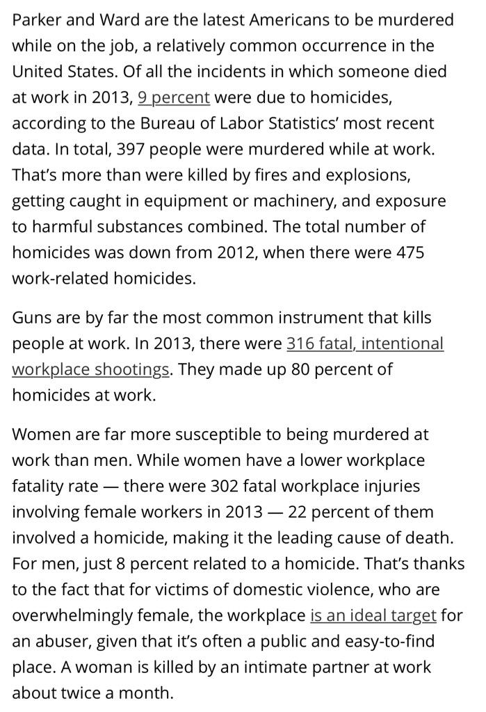 Holy crap. MT @fmanjoo Workplace homicide is…the leading cause of death for women at work http://t.co/4WyBlUOtkd http://t.co/maPdPKPHmp