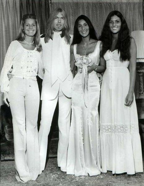 Cool old school on twitter gregg allman and cher s for Jill goodacre wedding dress