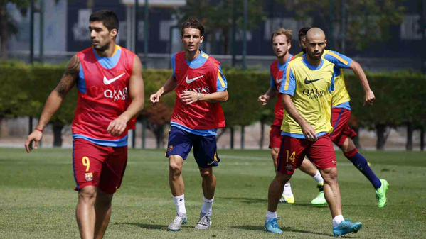 David at Wednesday's training with the first team; photo: Barcelona