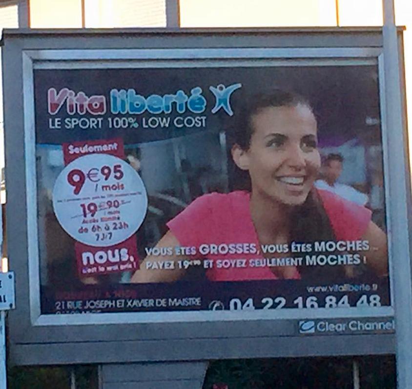 """Faut oser quand même...""""Vous êtes grosses, vous êtes moches...payez 19 euros et soyez seulement moches!"""" http://t.co/2OtzpY4c0j"""