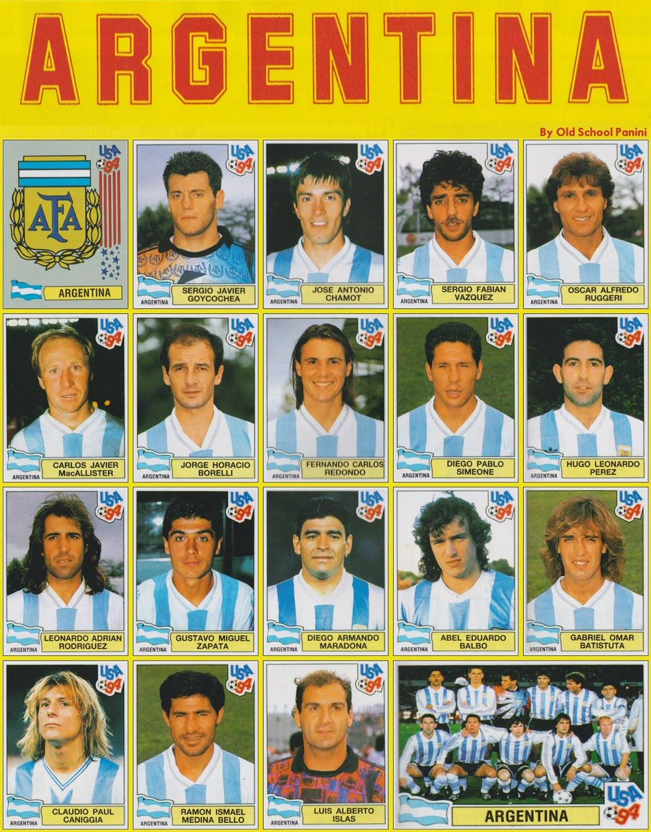 """Old School Panini on Twitter: """"Argentina 1994. What a team ..."""