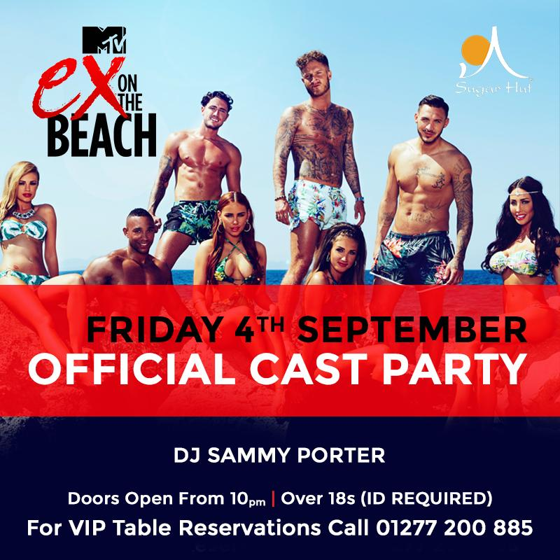 Friday night we welcome the cast of #ExOnTheBeach to @sugarhut! For VIP tables call 01277 200885 http://t.co/AcSuNSP4BL