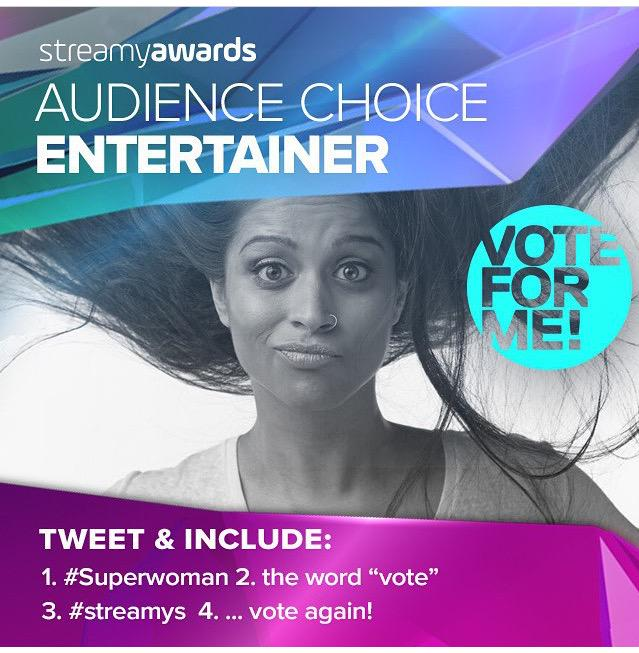 SO PROUD OF @IISuperwomanII!  Up for Entertainer Of The Year  #vote #Streamys #superwoman http://t.co/872LiPN3DV