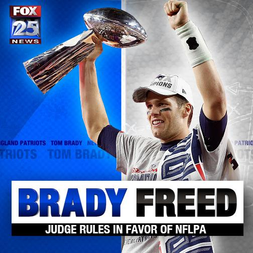 BRADY FREED! Judge nullifies NFL's 4-game suspension: http://t.co/9iCT1IZnPm http://t.co/xqUwVxs2BP