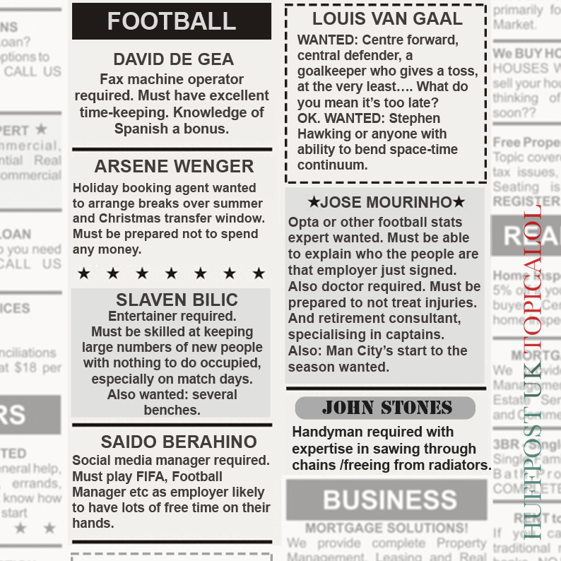 RT @HuffPostUKCom: Football managers resorting to classified ads after Deadline Day flops http://t.co/g9OaIWmK48 http://t.co/S6pHuPkXZH