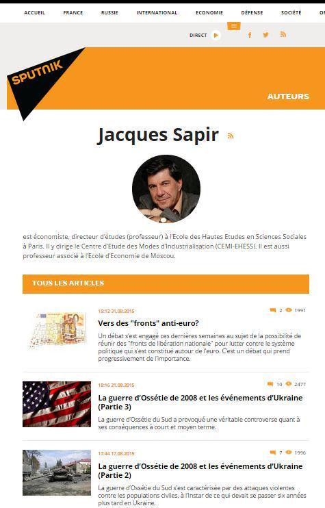 Sapir collabore à Sputnik, le site pro-gouvernemental russe http://t.co/qmwDGWrWRy http://t.co/fJRkGwyKAZ