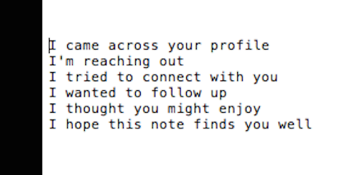 Recruiter spam on LinkedIn is self-organizing into a Taylor Swift song. http://t.co/tPoeMJ67e1