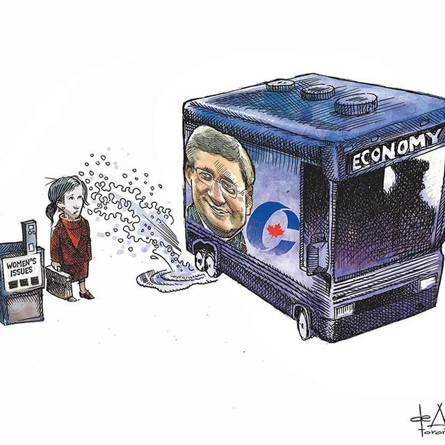'Women's issues' is Thursday's editorial cartoon by @deAdder. #elxn42 #cdnpoli #Harper http://t.co/N0ADxHhCyv
