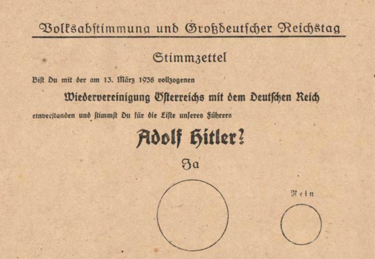 """Lucian Kim on Twitter: """"1938 #Austria ballot: do you support ..."""