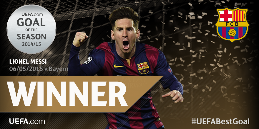 Messi Wins UEFA Goal Of The Season Award