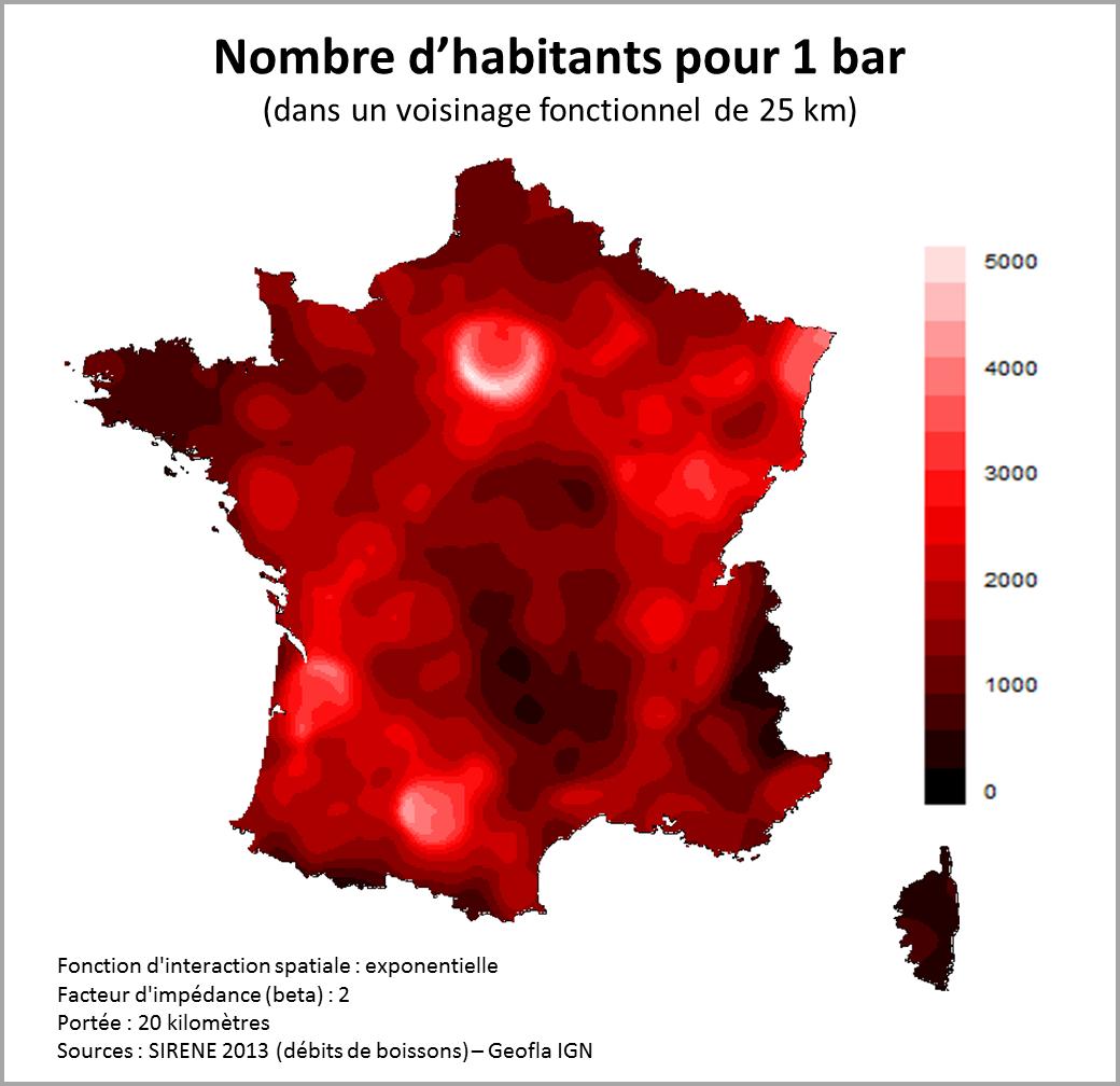 """carte des bars en france Mat ar Twitter: """"Une autre carte de la densité de bars en France"""