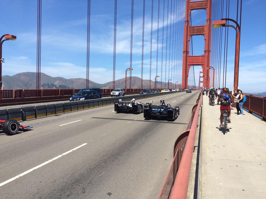 One of the coolest events of the year. Race cars across the Golden Gate Bridge! #IndyCar #GoProGP http://t.co/E8oam9z1U2