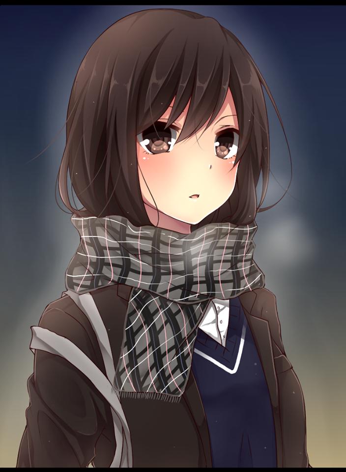 Картинки аниме девочек с каре и коричневыми волосами