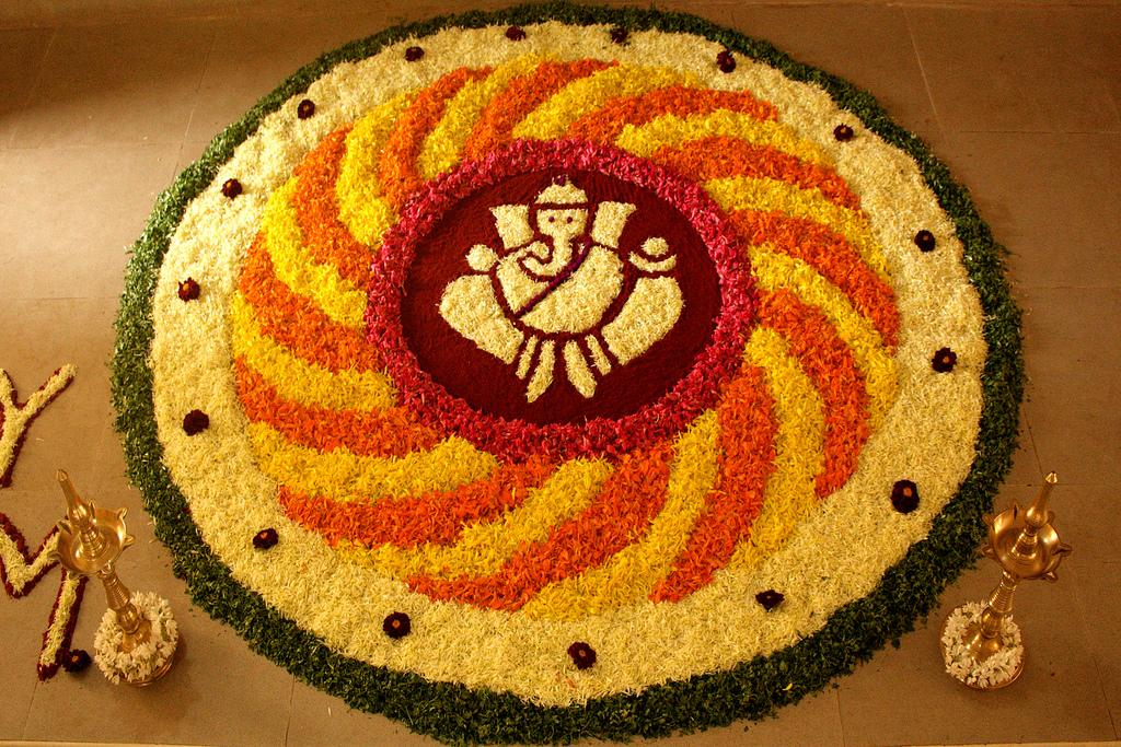 Flower Rangoli Designs of Ganesh Ustav  IMAGES, GIF, ANIMATED GIF, WALLPAPER, STICKER FOR WHATSAPP & FACEBOOK